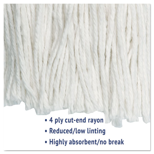 Cut-End Wet Mop Head, Rayon, No. 20, White. Picture 3