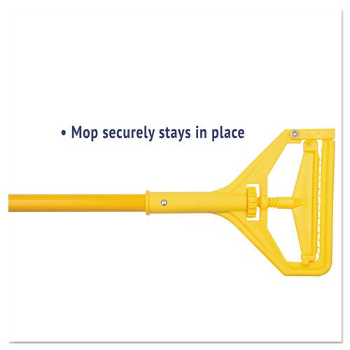"Quick Change Side-Latch Plastic Mop Head Handle, 60"" Aluminum Handle, Yellow. Picture 3"