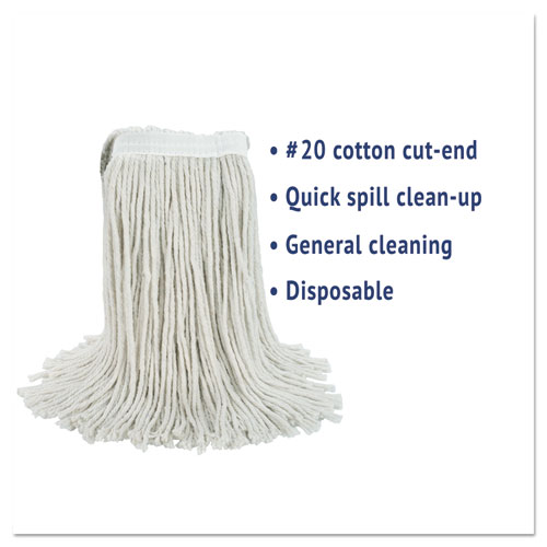 Cut-End Wet Mop Head, Cotton, No. 20, White. Picture 2