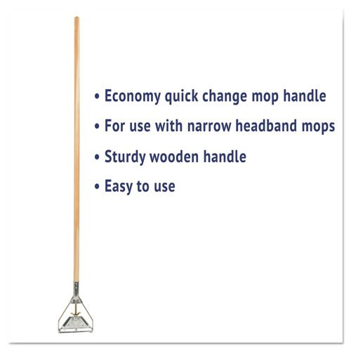 Quick Change Metal Head Mop Handle for No. 20 & Up Heads, 54in Wood Handle. Picture 2