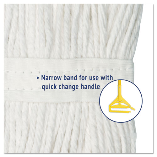 Cut-End Wet Mop Head, Rayon, No. 24, White, 12/Carton. Picture 5