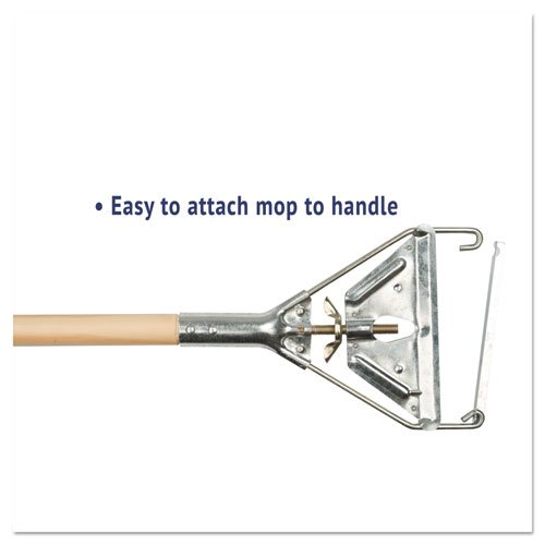 Quick Change Metal Head Mop Handle for No. 20 & Up Heads, 54in Wood Handle. Picture 3