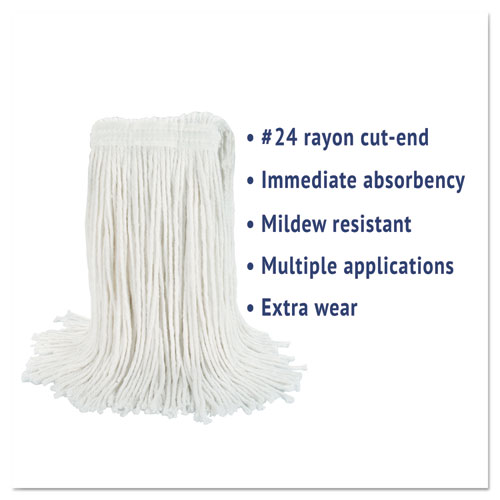 Cut-End Wet Mop Head, Rayon, No. 24, White, 12/Carton. Picture 3