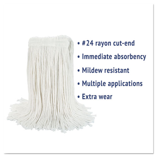 Cut-End Wet Mop Head, Rayon, No. 24, White. Picture 2