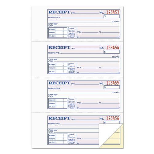 Money and Rent Receipt Books, 2-3/4 x 7 1/8, Two-Part Carbonless, 400 Sets/Book. Picture 1