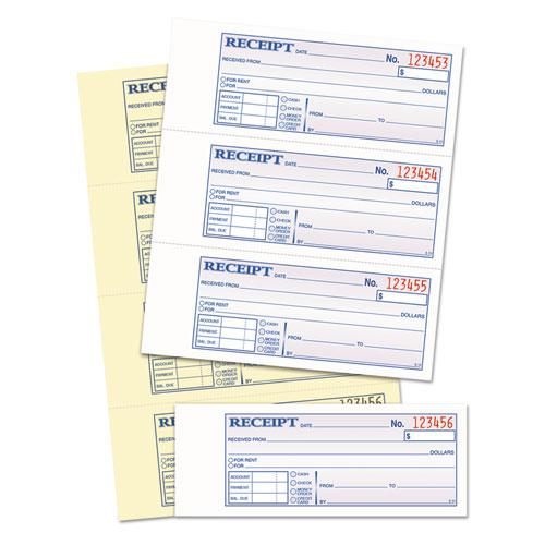 Money and Rent Receipt Books, 2-3/4 x 7 1/8, Two-Part Carbonless, 400 Sets/Book. Picture 2