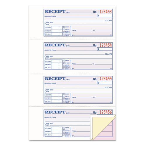 Money/Rent Receipt Books, 2-3/4 x 7 1/8, Three-Part Carbonless, 100 Sets/Book. Picture 1