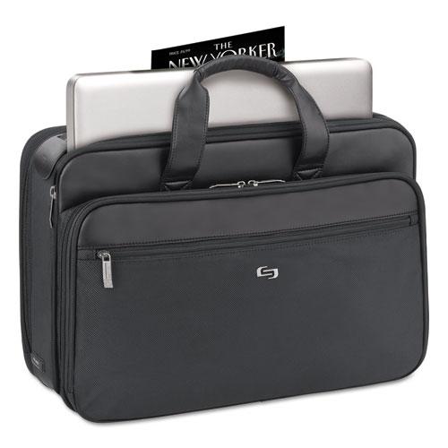 """Classic Smart Strap Briefcase, 16"""", 17 1/2"""" x 5 1/2"""" x 12"""", Black. Picture 4"""