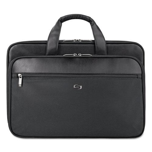 """Classic Smart Strap Briefcase, 16"""", 17 1/2"""" x 5 1/2"""" x 12"""", Black. Picture 1"""