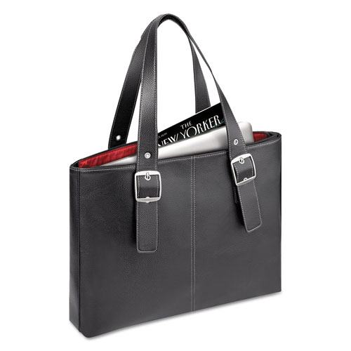 "Classic Tote, 15.6"", 13 3/4"" x 17 1/2"" x 3 3/4"", Black/Red. The main picture."