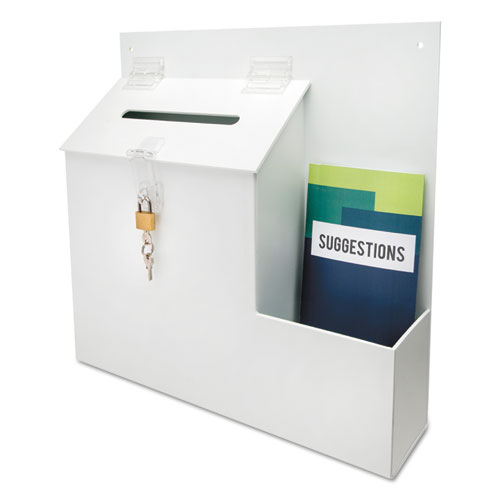 Suggestion Box Literature Holder w/Locking Top, 13 3/4 x 3 5/8 x 13, White. Picture 1