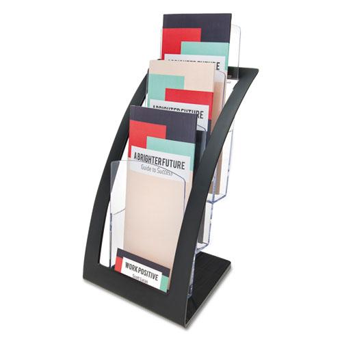 3-Tier Literature Holder, Leaflet Size, 6.75w x 6.94d x 13.31h, Black. Picture 1