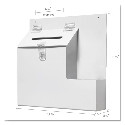 Suggestion Box Literature Holder w/Locking Top, 13 3/4 x 3 5/8 x 13, White. Picture 2