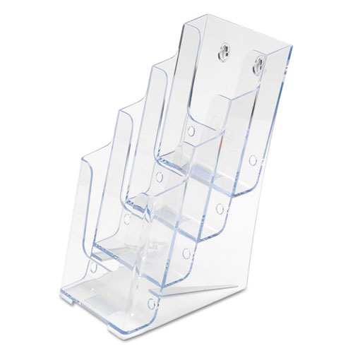 4-Compartment DocuHolder, Leaflet Size, 4.88w x 6.13d x 10h, Clear. Picture 3