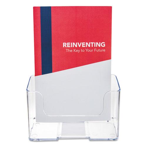 DocuHolder for Countertop/Wall-Mount, Booklet Size, 6.5w x 3.75d x 7.75h, Clear. Picture 2