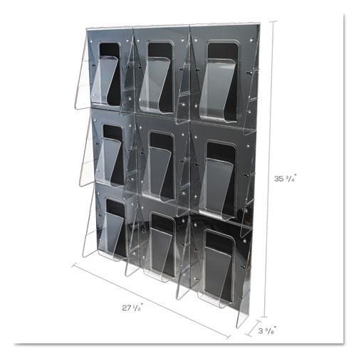 Stand-Tall 9-Bin Wall-Mount Literature Rack, Mag, 27.5w x 3.38d x 35.63h, Clear/Black. Picture 2