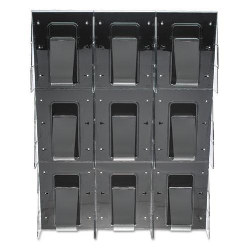 Stand-Tall 9-Bin Wall-Mount Literature Rack, Mag, 27.5w x 3.38d x 35.63h, Clear/Black. Picture 3