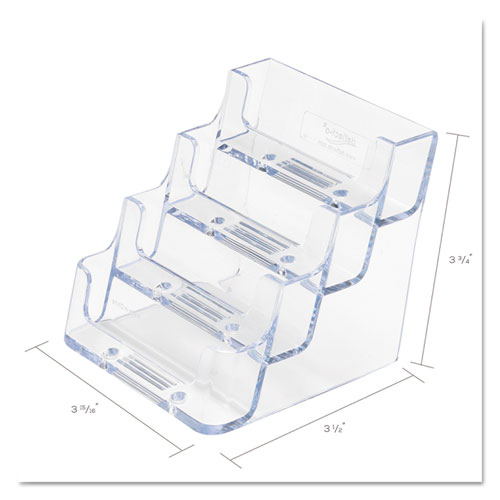 4-Pocket Business Card Holder, 200 Card Cap, 3 15/16 x 3 3/4 x 3 1/2, Clear. Picture 4