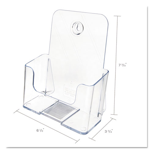 DocuHolder for Countertop/Wall-Mount, Booklet Size, 6.5w x 3.75d x 7.75h, Clear. Picture 3