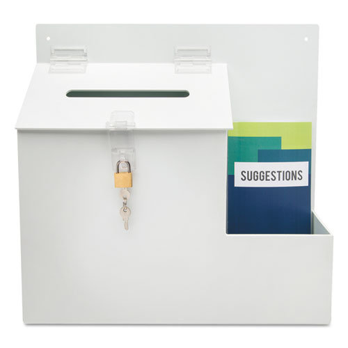Suggestion Box Literature Holder w/Locking Top, 13 3/4 x 3 5/8 x 13, White. Picture 5