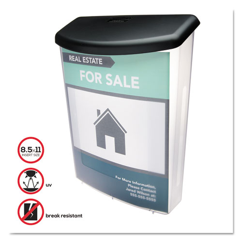 Outdoor Literature Box, 10w x 4.5d x 13.13h, Clear/Black. Picture 5