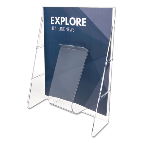 Stand-Tall Wall-Mount Literature Rack, Magazine, 9.13w x 3.25d x 11.88h, Clear. Picture 1