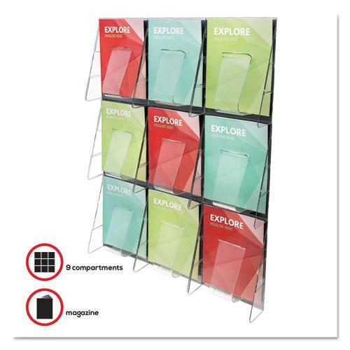 Stand-Tall 9-Bin Wall-Mount Literature Rack, Mag, 27.5w x 3.38d x 35.63h, Clear/Black. Picture 4