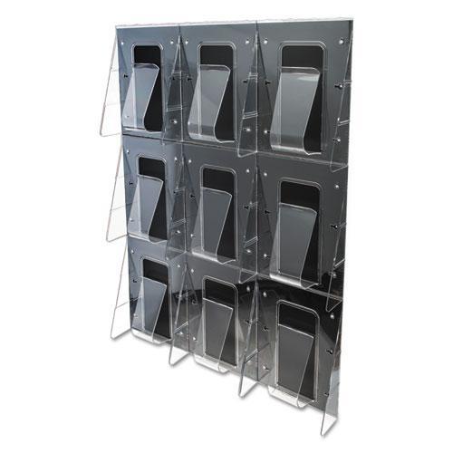 Stand-Tall 9-Bin Wall-Mount Literature Rack, Mag, 27.5w x 3.38d x 35.63h, Clear/Black. Picture 5