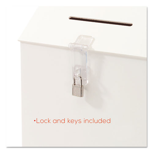 Suggestion Box Literature Holder w/Locking Top, 13 3/4 x 3 5/8 x 13, White. Picture 6