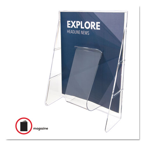 Stand-Tall Wall-Mount Literature Rack, Magazine, 9.13w x 3.25d x 11.88h, Clear. Picture 5