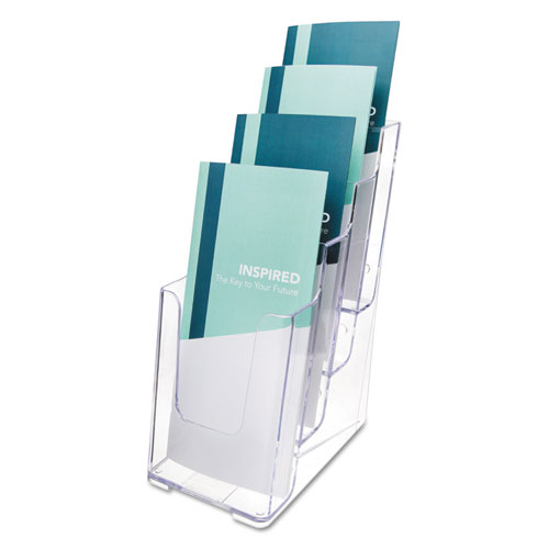 4-Compartment DocuHolder, Leaflet Size, 4.88w x 6.13d x 10h, Clear. Picture 1