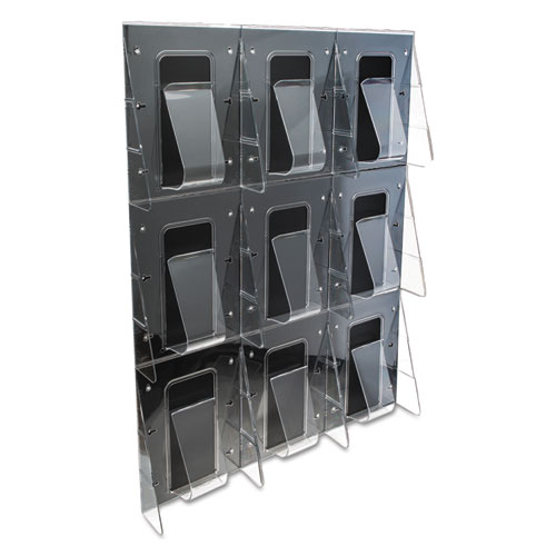 Stand-Tall 9-Bin Wall-Mount Literature Rack, Mag, 27.5w x 3.38d x 35.63h, Clear/Black. Picture 7