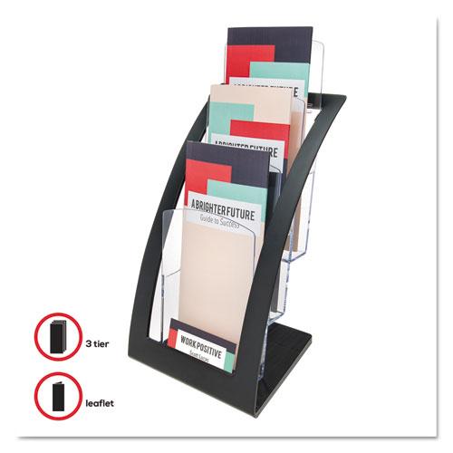 3-Tier Literature Holder, Leaflet Size, 6.75w x 6.94d x 13.31h, Black. Picture 6