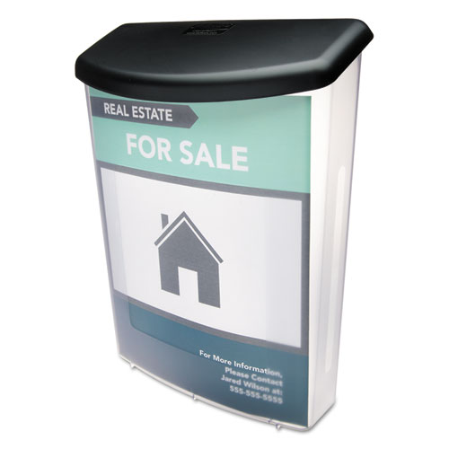 Outdoor Literature Box, 10w x 4.5d x 13.13h, Clear/Black. Picture 1