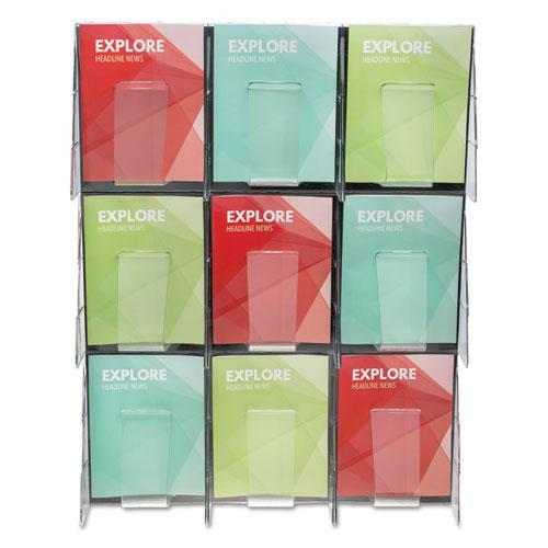 Stand-Tall 9-Bin Wall-Mount Literature Rack, Mag, 27.5w x 3.38d x 35.63h, Clear/Black. Picture 8