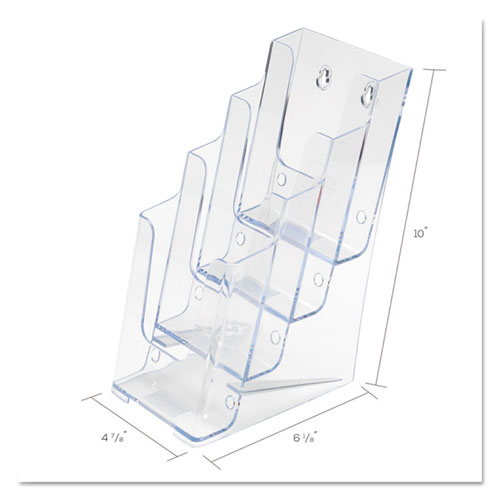 4-Compartment DocuHolder, Leaflet Size, 4.88w x 6.13d x 10h, Clear. Picture 8