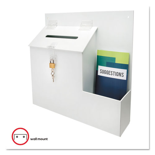 Suggestion Box Literature Holder w/Locking Top, 13 3/4 x 3 5/8 x 13, White. Picture 7