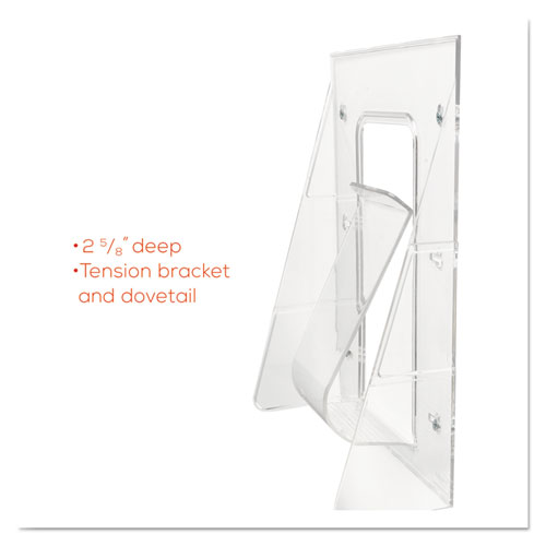 Stand-Tall Wall-Mount Literature Rack, Magazine, 9.13w x 3.25d x 11.88h, Clear. Picture 8