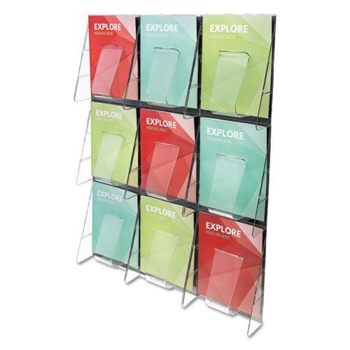 Stand-Tall 9-Bin Wall-Mount Literature Rack, Mag, 27.5w x 3.38d x 35.63h, Clear/Black. Picture 1