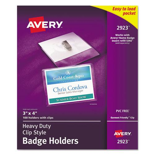 Heavy-Duty Clip-Style Badge Holders, Horizontal, 4 x 3, Clear, 100/Box. Picture 1