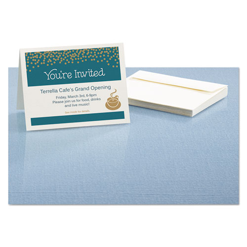 Textured Note Cards, Inkjet, 4 1/4 x 5 1/2, Uncoated White, 50/Bx w/Envelopes. Picture 3