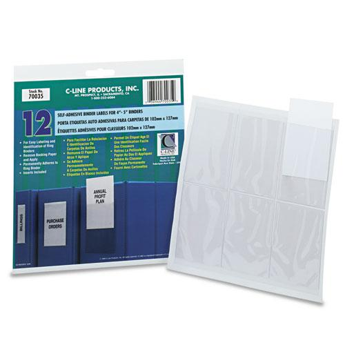 Self-Adhesive Ring Binder Label Holders, Top Load, 2 3/4 x 3 5/8, Clear, 12/Pack. Picture 2
