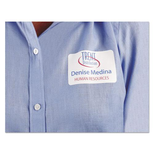 Flexible Adhesive Name Badge Labels, 3.38 x 2.33, White, 400/Box. Picture 4