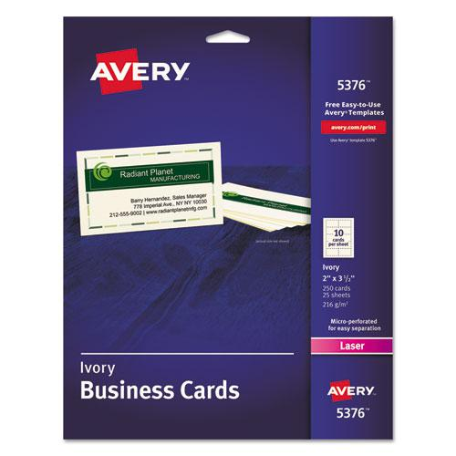 Printable Microperforated Business Cards with Sure Feed Technology, Laser, 2 x 3.5, Ivory, Uncoated, 250/Pack. Picture 1