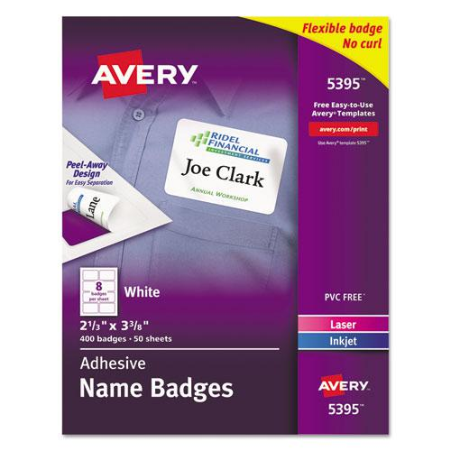 Flexible Adhesive Name Badge Labels, 3.38 x 2.33, White, 400/Box. Picture 1