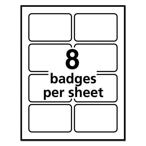 Flexible Adhesive Name Badge Labels, 3.38 x 2.33, White, 400/Box. Picture 6