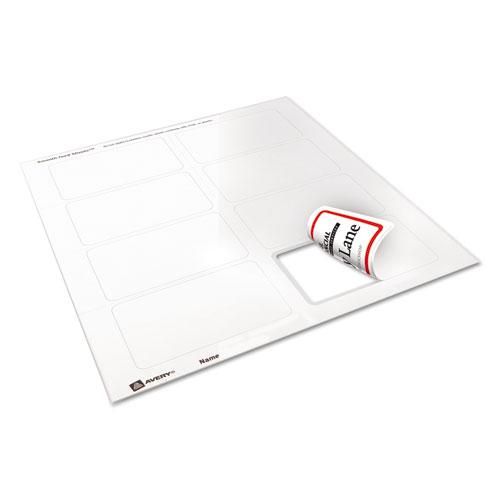 Flexible Adhesive Name Badge Labels, 3.38 x 2.33, White/Red Border, 400/Box. Picture 3