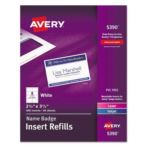 Name Badge Insert Refills, Horizontal/Vertical, 2 1/4 x 3 1/2, White, 400/Box. Picture 1