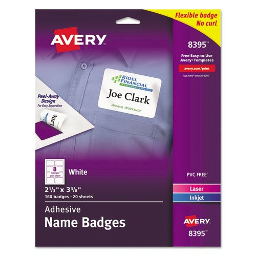Flexible Adhesive Name Badge Labels, 3.38 x 2.33, White, 160/Pack. Picture 1