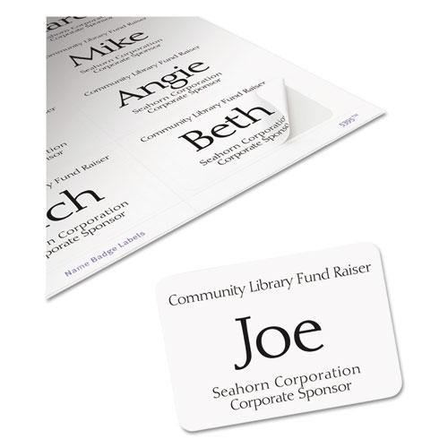 Flexible Adhesive Name Badge Labels, 3.38 x 2.33, White, 400/Box. Picture 5
